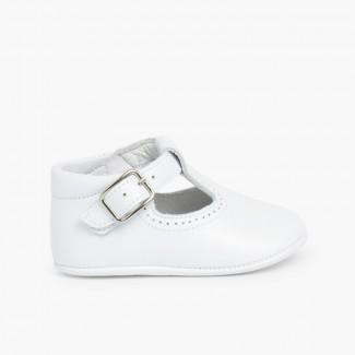 Sapato Pepito Pele Bebé com Fivela Branco