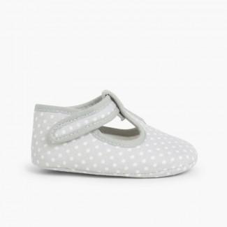 Sapatos Pepito Velcro Bolinhas Cinzento