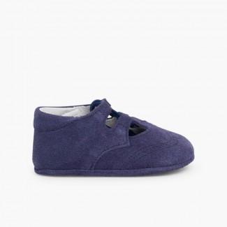 Sapato Estilo Inglês Camurça Bebé Azulão