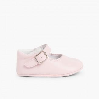 Sapato Mercedita Pele Bebé com Fivela Rosa