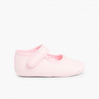 Sapatos Mercedita Bebé Tela Velcro Rosa