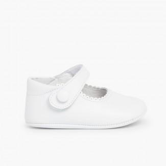Sapato Mercedita Pele Bebé com tiras aderentes   Branco