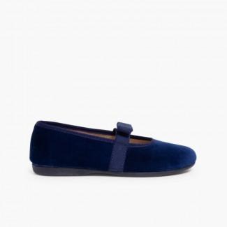 Sabrinas Veludo com laço no elástico Azul-marinho