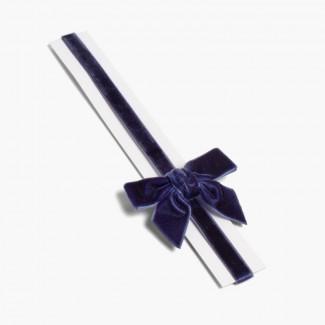 Bandolete elástica de veludo com laço Azul-marinho