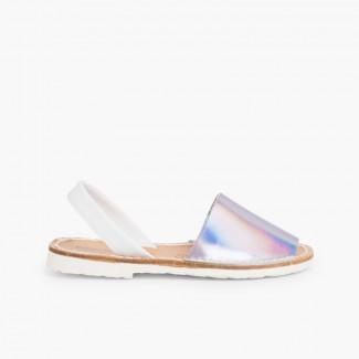 Sandálias Menorquinas Napa Espelho Edição Especial Sola Branca Prata