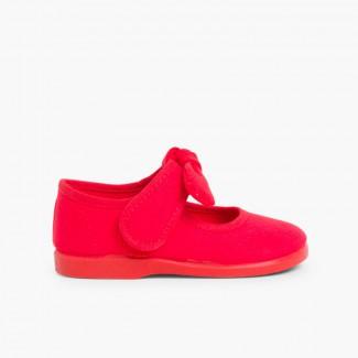 Sapatos Merceditas Lona Velcro Laço Liso Vermelho