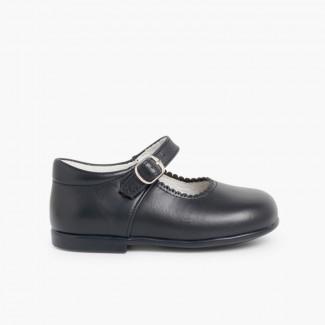 Sapatos Merceditas Pele Menina com Fivela Azul-marinho