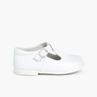 Sapato Pepito Pele com Fivela Branco