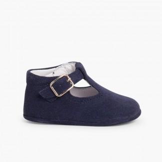 Sapato Pepito Camurça Bebé com Fivela Azul-marinho