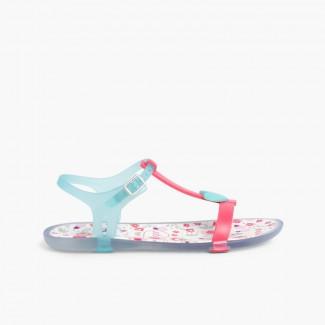27fce6f6334 Sandálias de borracha Tricia Love Fúcsia e Água-marinha