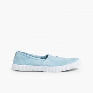 Ténis Slip On com Elástico Azulado
