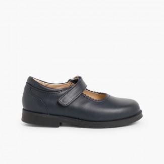 Sapatos Colegiais Menina com Velcro   Azul-marinho