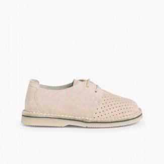 Sapatos Blucher Camurça com Picotado Bege