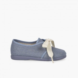 Bluchers Linho Cerimónia Meninos Pequenos Laço Azul