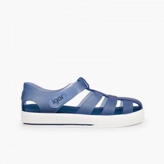 Sandálias de Borracha com Velcro tipo Ténis Azul-marinho