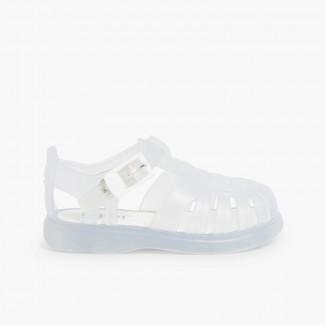 Sandálias de Borracha Lisas Branco