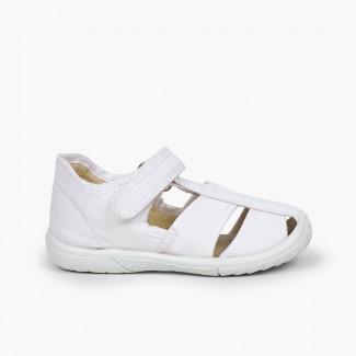 Sandálias Pepito Velcro Menino Biqueira Reforçada Branco