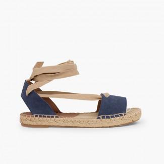 4d51c108381 Sandálias Esparto de Camurça com Fitas Azul