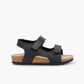 Sandálias Pele Bio Menino Duplo Velcro Azul-marinho
