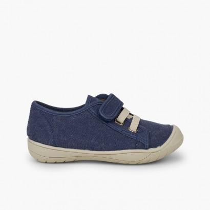 Ténis Fecho Velcro e Atacadores Elásticos Azul Jeans