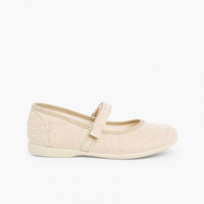 Sapatos Merceditas Linho com Velcro Fino Areia