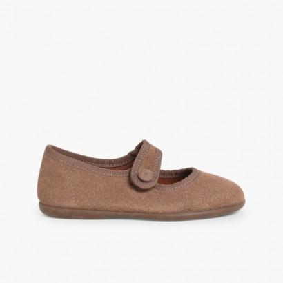 Sapatos Merceditas Camurça Velcro para Meninas Bege Escuro