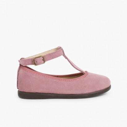 Sapatos Merceditas Menina Camurça com fecho pulseira Beringela