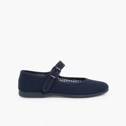 Sapatos Merceditas Tecido com Fivela Tamanhos Grandes  Azul-marinho