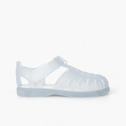 Sandálias de Borracha com tiras aderentes   Tobby Branco