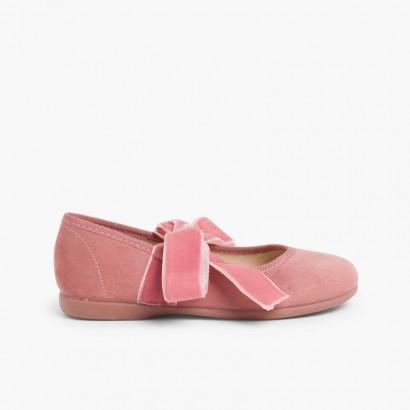 Sapatos Merceditas com Laço de Veludo Rosa