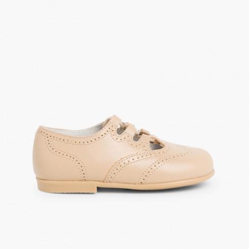 Sapato Estilo Inglês Pele Camel