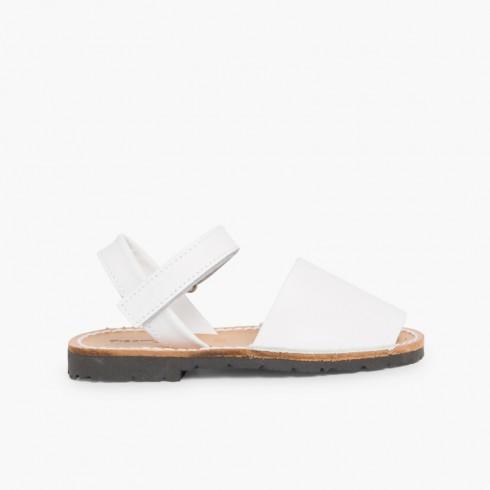 Sandálias Criança Menorquinas Napa Velcro Branco