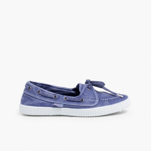 Sapatos de Vela de Lona com Sola Branca Celeste