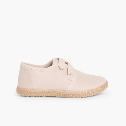Sapatos Blucher Sola Alpargata efeito Raso Bege