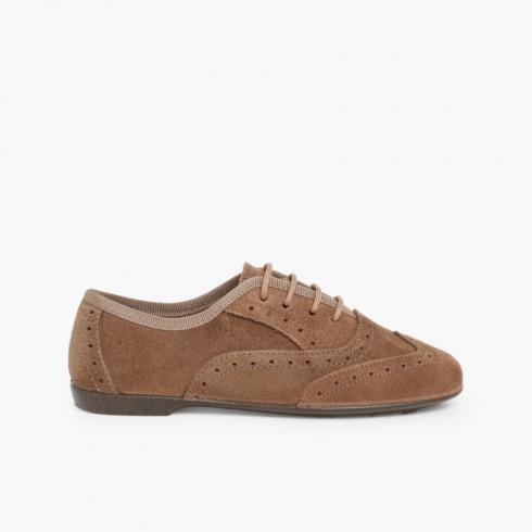 Sapatos Blucher Menina e Mulher Bege Escuro