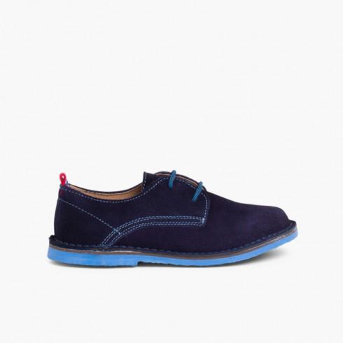 Sapatos Blucher Camurça Sola e Atacadores Cores Azul-marinho