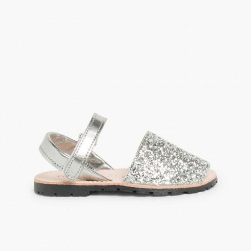 Sandálias Menorquinas Glitter com Velcro Prata