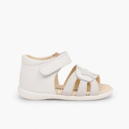 Sandálias Napa Estrela Primeiros Passos Velcro Branco