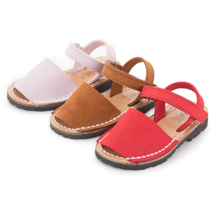 Sandálias Criança Menorquinas Nobuck Velcro
