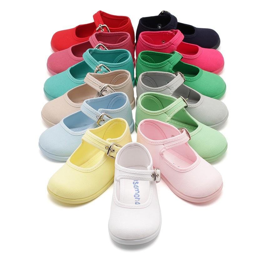Sapatos Merceditas Tecido com Fivela