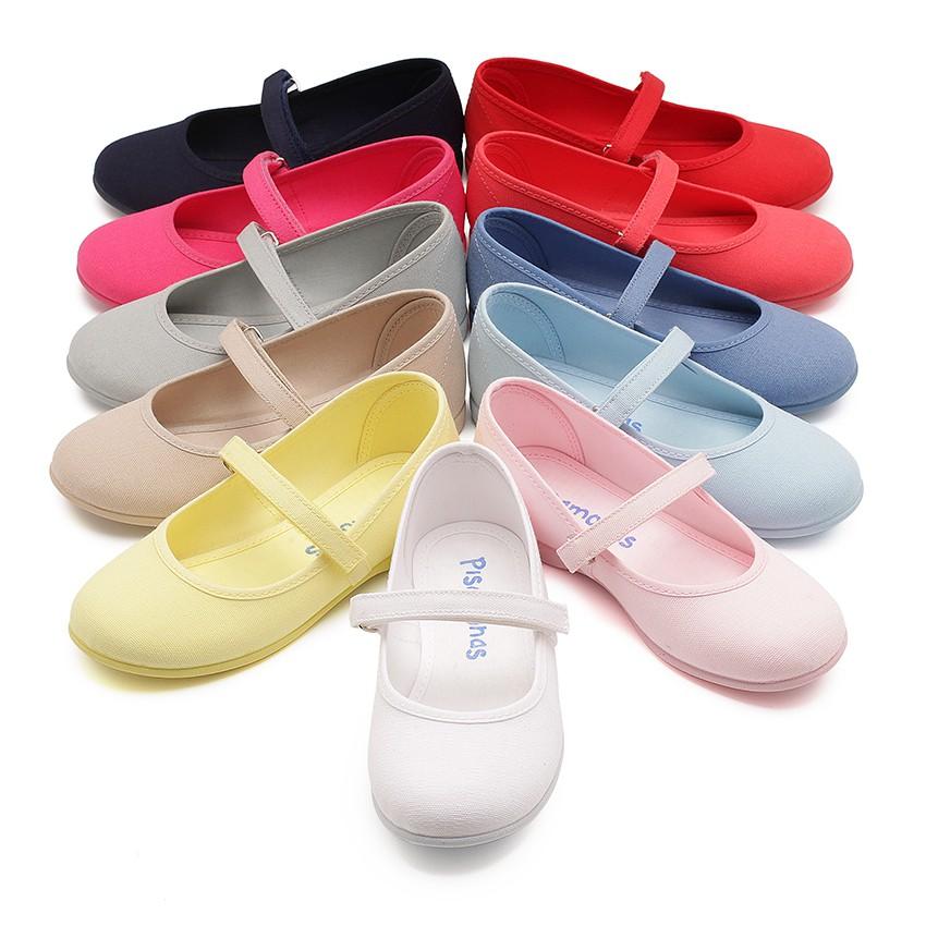 Sapatos Merceditas Tela com Velcro Fino