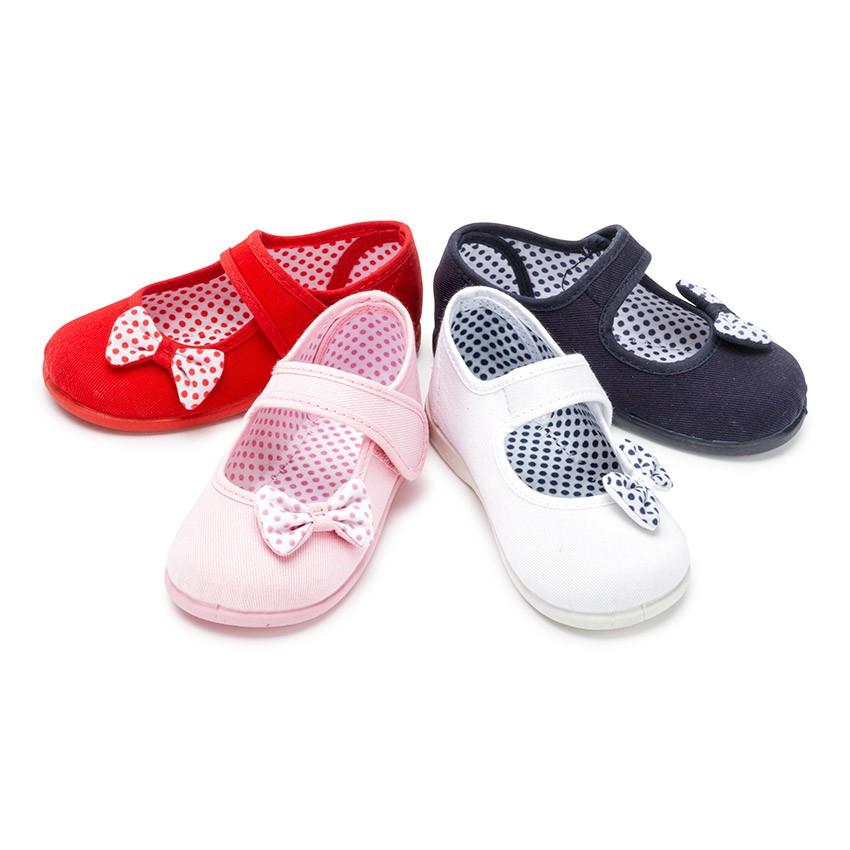 Sapatos Merceditas de Lona tiras aderentes   Laço Bolinhas