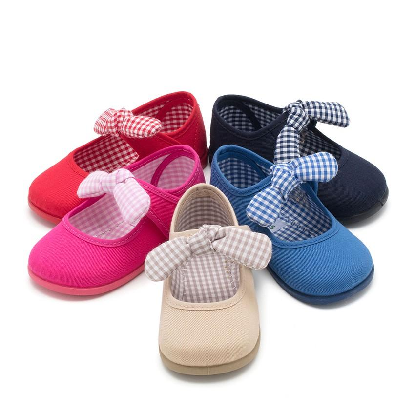 Sapatos Merceditas Lona Velcro com Laço de Vichy