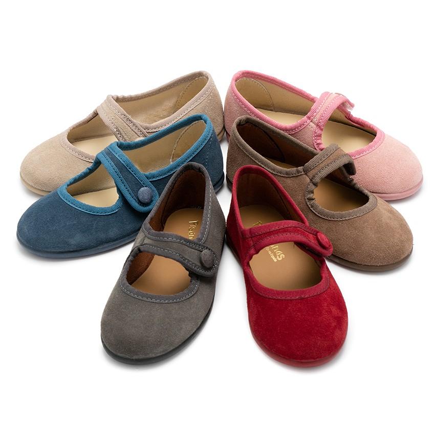 Sapatos Merceditas Camurça tiras aderentes   para Meninas