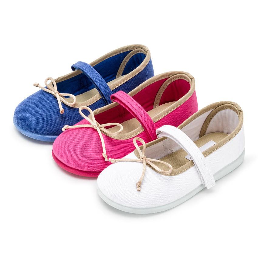 Sapatos de Tela Tira Aderente Fina com Laço