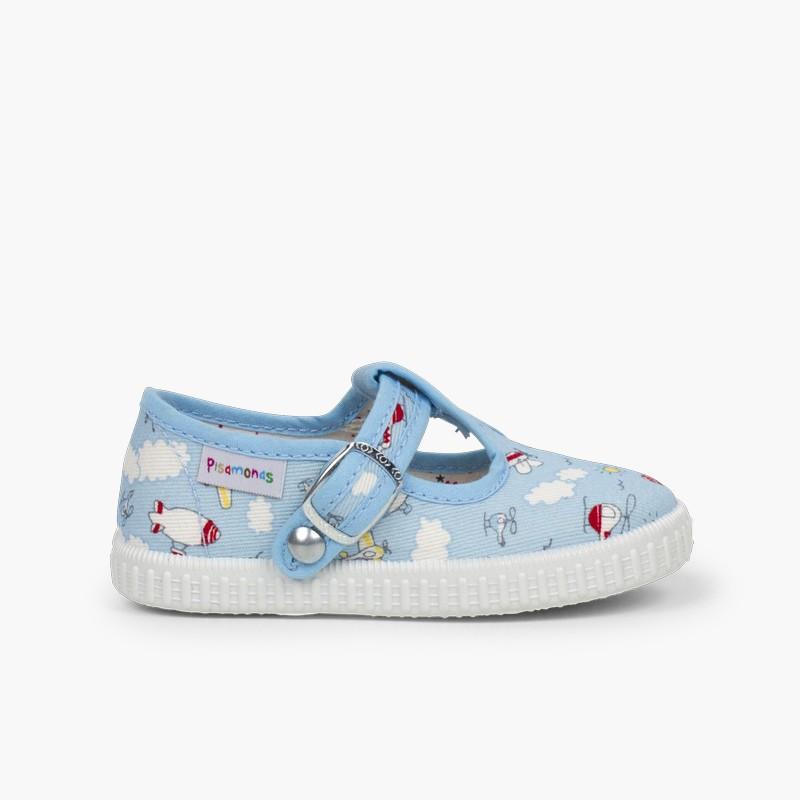 Sapatos Pepito Lona Estampada Fecho Botão