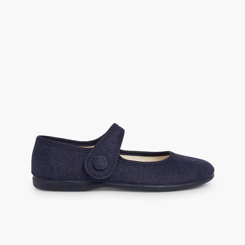 Sapatos Merceditas Linho Velcro Botão