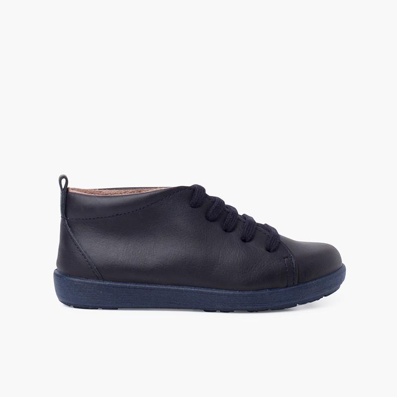 Sapatos Pele tipo Botins de Atacadores