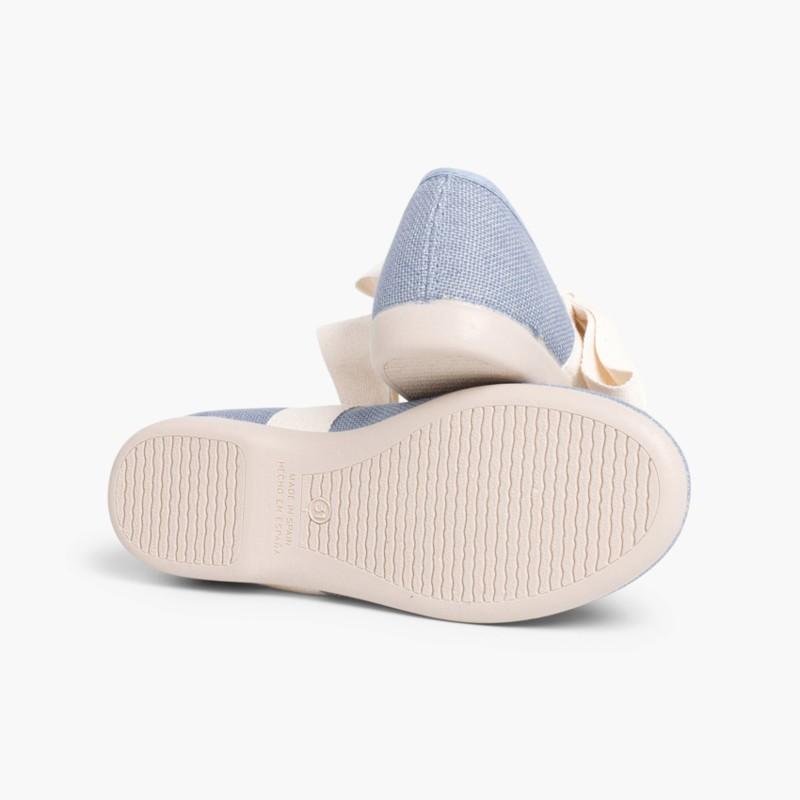 Sapatos Merceditas Linho com Laço Cru