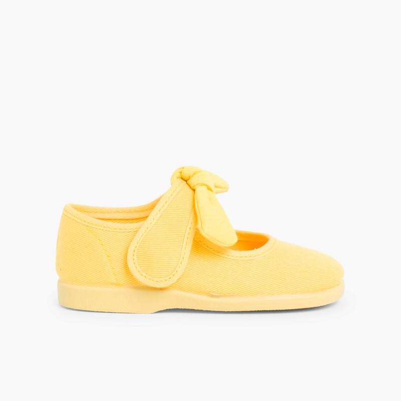 Sapatos Merceditas Lona Velcro Laço Liso